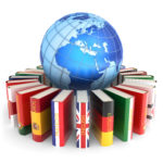 Dictionary books with covers in colors of national flags of world countries around Earth globe isolated on white background