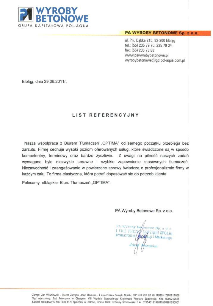 list referencyjny PA Wyroby Betonowe